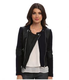 Rebecca Taylor Combo Moto Jacket With Leather NavyBlack at 6pm