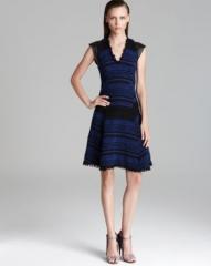Rebecca Taylor Dress - Stripe Tweed with Leather at Bloomingdales
