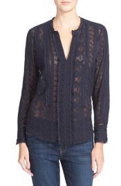 Rebecca Taylor Embellished Silk Chiffon Top at Nordstrom