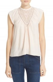 Rebecca Taylor Embroidered Inset Silk Top at Nordstrom