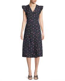 Rebecca Taylor Farren Floral-Print Faux-Wrap Midi Dress at Neiman Marcus