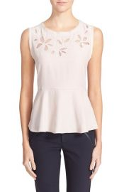Rebecca Taylor Floral Cutout Top at Nordstrom