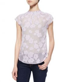 Rebecca Taylor Floral-Embroidered Sheer Blouse at Neiman Marcus