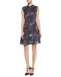 Rebecca Taylor Floral-Haze Mock-Neck Dress at Neiman Marcus