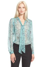 Rebecca Taylor Floral Print Tie Neck Top at Nordstrom