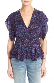 Rebecca Taylor Flutter Sleeve Peplum Silk Top at Nordstrom