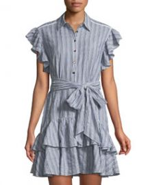 Rebecca Taylor Flutter-Sleeve Striped Shirtdress at Last Call