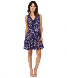 Rebecca Taylor Kyoto Floral Print Sleeveless Dress Ink Blue at Zappos
