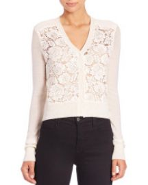Rebecca Taylor Lace-Front Cardigan Sweater at Saks Fifth Avenue
