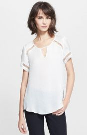 Rebecca Taylor Ladder Stitch Textured Silk Top at Nordstrom