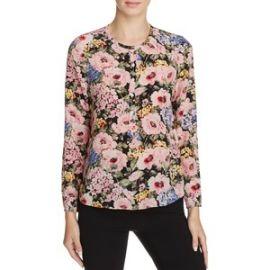 Rebecca Taylor Lavinia Rose Print Silk Top at Bloomingdales