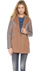 Rebecca Taylor Leather Sleeve Coat at Shopbop