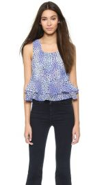 Rebecca Taylor Leo Fever Print Ruffle Crop Top at Shopbop