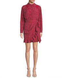 Rebecca Taylor Long-Sleeve 3-D Floral-Embroidery Heart-Print Silk Mini Dress at Neiman Marcus