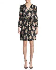 Rebecca Taylor Long-Sleeve Bouquet Silk Short Dress at Bergdorf Goodman