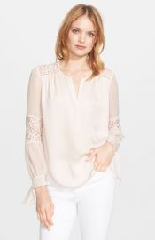 Rebecca Taylor Long Sleeve Silk and Lace Blouse at Nordstrom