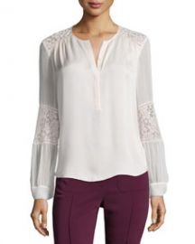 Rebecca Taylor Long-Sleeve Silk and Lace Blouse Malt Ball at Neiman Marcus