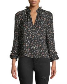 Rebecca Taylor Long-Sleeve Vine-Print Silk Ruffle Top at Neiman Marcus