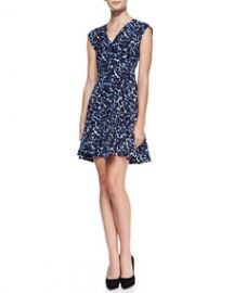 Rebecca Taylor Lynx-Print Flared V-Neck Dress at Neiman Marcus