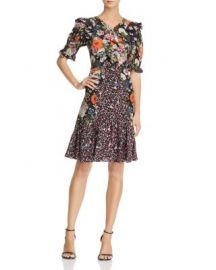 Rebecca Taylor Mixed Floral Print Silk Dress at Bloomingdales