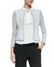 Rebecca Taylor Mixed Pattern Fitted Tweed Jacket at Bergdorf Goodman