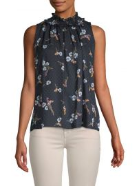 Rebecca Taylor Natalie Floral Sleeveless Silk Top at Saks Off 5th
