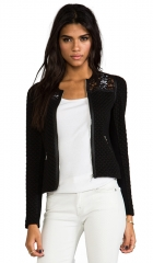 Rebecca Taylor Quilted Jacquard Jacket in Black  REVOLVE at Revolve