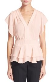 Rebecca Taylor Ruffle V-Neck Top at Nordstrom