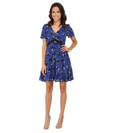 Rebecca Taylor Short Sleeve Alyssum Print Dress Electric Blue Combo at Zappos