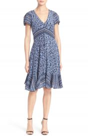 Rebecca Taylor Short Sleeve Print Silk Dress at Nordstrom