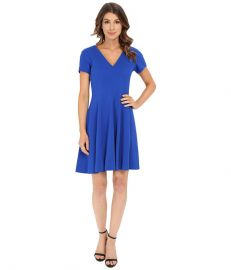 Rebecca Taylor Short Sleeve Refined Suiting V-Neck Dress at Zapposcom at Zappos