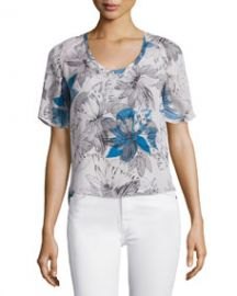 Rebecca Taylor Short-Sleeve Tahitian Flower Silk Chiffon Top  Multicolor at Neiman Marcus