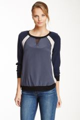 Rebecca Taylor Silk Colorblock Sweatshirt at Nordstrom Rack