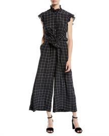 Rebecca Taylor Sleeveless Plaid Silk Wide-Leg Jumpsuit at Neiman Marcus