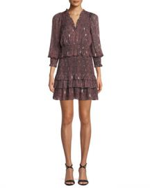 Rebecca Taylor Smocked Snake-Print Ruffle Short Dress at Neiman Marcus