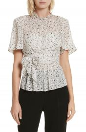 Rebecca Taylor Star Tie Silk Blend Blouse at Nordstrom
