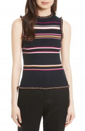 Rebecca Taylor Stripe Rib Knit Tank at Nordstrom