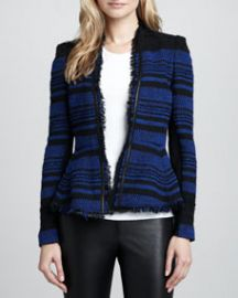 Rebecca Taylor Striped Leather-Trim Tweed Jacket at Neiman Marcus