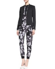 Rebecca Taylor Structured Open-Front Jacket Long Sleeve Ghost Flower Top and Ghost Flower Pants at Neiman Marcus