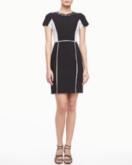 Rebecca Taylor Two-Tone Crepe Dress at Neiman Marcus