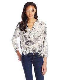 Rebecca Taylor Womenand39s Botanical Print Bracelet-Sleeve Blouse at Amazon