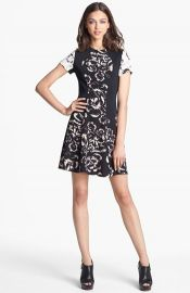 Rebecca Taylor and39Artisanal Blockedand39 Print Silk A-Line Dress at Nordstrom