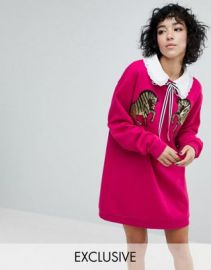 Reclaimed Vintage Inspired Sweat Dress With Sequin Zebra at asos com at Asos