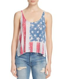 Recycled Karma Flag Print Scoop Neck Crop Tank - Compare at  35 at Bloomingdales