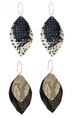 Recycled leather leaf earrings at Peggy Li