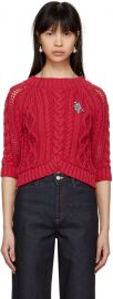 Red Cable Crop Sweater by Carven at SSense
