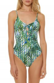 Red Carter Lace-Up One Piece Swimsuit at Nordstrom