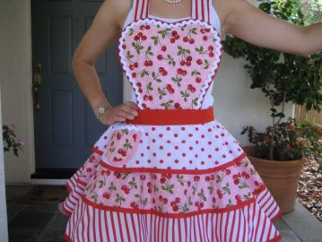 Red Cherry Apron at Etsy