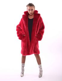 Red Faux Fur Coat by Matt Sarafa at Matt Sarafa