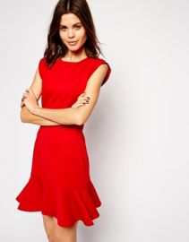 Red Fluted Hem Dress at Asos